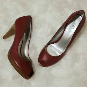 Size 10M LOFT Red Open Toe Platformer Heel